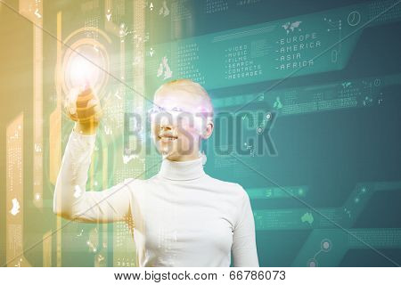 Young woman in white touching icon of media screen