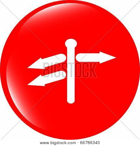 Crossroads Sign On Web Button Isolated On White