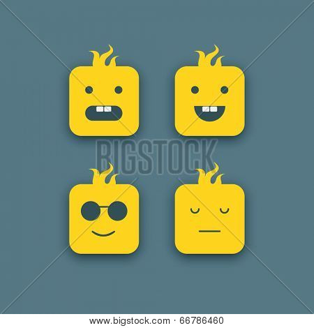 Abstract funny faces icons set