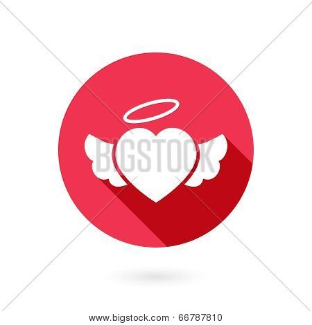 Red winged heart icon with shadow