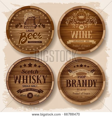Set of wooden barrels with alcohol drinks emblems. Vector illustration