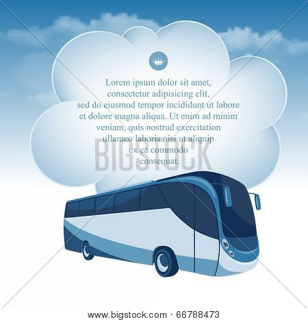 Passenger bus moving under the blue sky and white clouds. There is a place for your text.