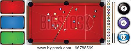 Vector illustration of snooker table with a cue and balls