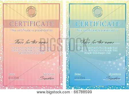 Cute vector certificate poster