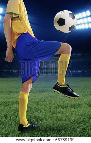 Soccer Player Training To Control The Ball