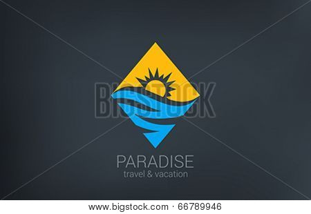 Travel vector logo design. Rhombus shape creative concept. Ocean Sea Waves, Sun shine Tourism ic