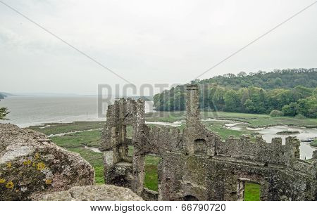 Laugharne Castle and Taf Estuary