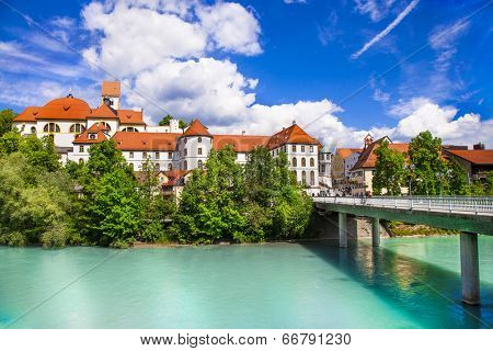 scenic Bavaria , Fussen town, view with castle
