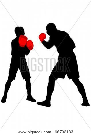 Silhouette of boxers during a fight on a white background