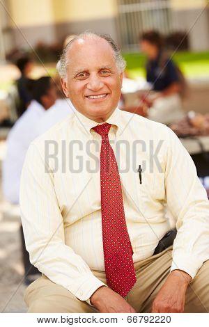 Portrait Of High School Teacher Sitting On School Campus