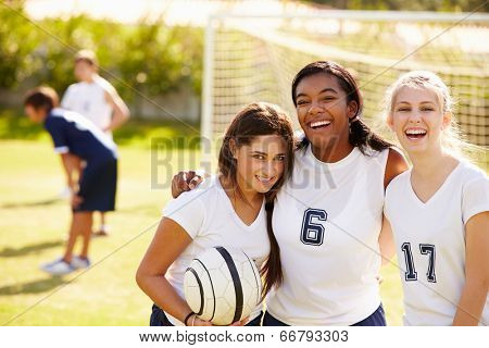 Members Of Female High School Soccer Team