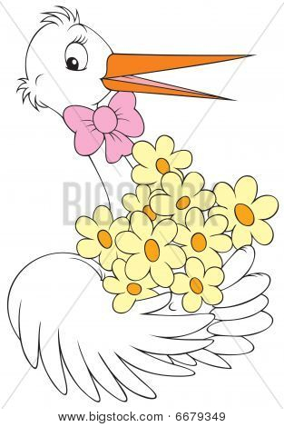 White stork holding the bunch of flowers for a newborn