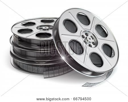 Film reels on white isolated background.  3d