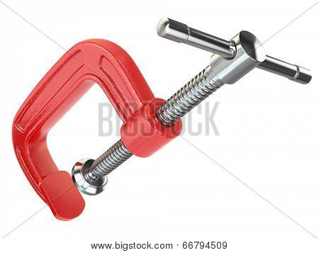 C-clamp hand vise on white isolated background. 3d