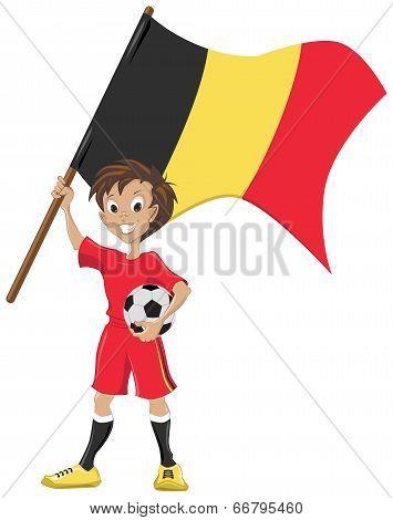 Happy soccer fan holds Belgium flag