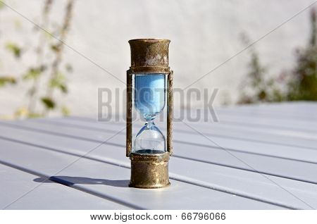 Sand Timer On Table - Hourglass On Table