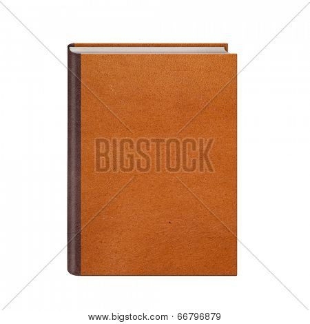 Book with brown leather hardcover isolated on white background