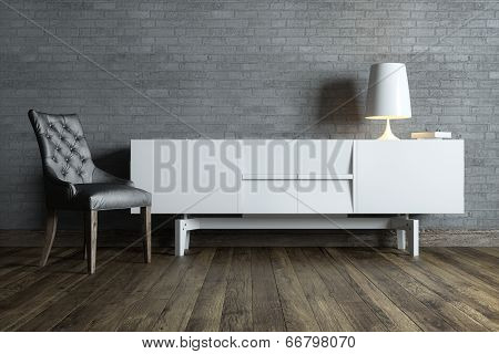 modern interior room with white furniture and table lamp