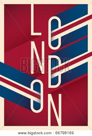 Illustrated London poster with typography. Vector illustration.