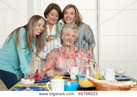 Family breakfast with grandma