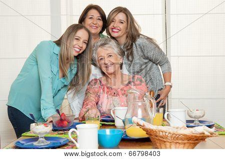 Family breakfast with grandma