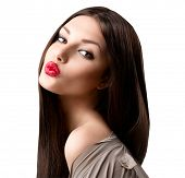stock photo of brown-haired  - Beauty fashion girl portrait - JPG