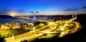 stock photo of tsing ma bridge  - Tsing Ma Bridge sunset  - JPG
