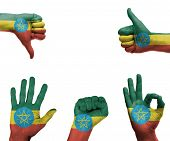 image of ethiopia  - A set of hands with different gestures wrapped in the flag of Ethiopia - JPG