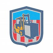 pic of forklift driver  - Metallic styled illustration of a forklift truck and driver at work lifting handling box crate done in retro style inside shield crest shape - JPG