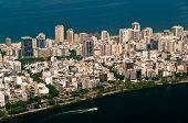 stock photo of ipanema  - Aerial View of Ipanema District between Ocean and Lake in Rio de Janeiro - JPG
