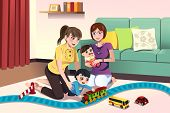 image of lesbian  - A vector illustration of young lesbian parents playing with their kids - JPG