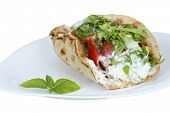stock photo of shawarma  - Shawarma on plate isolated on a white background - JPG