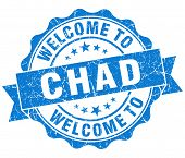 image of chad  - Welcome to Chad blue grungy vintage isolated seal - JPG