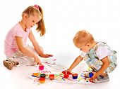 stock photo of finger-painting  - Happy family with child painting by finger paint - JPG