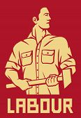 picture of strongman  - worker holding a hammer poster vector illustration - JPG