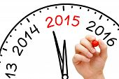 picture of chronometer  - Hand drawing New Year 2015 concept with marker on transparent wipe board - JPG