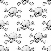 stock photo of skull cross bones  - Skull and cross bones seamless pattern conceptual of piracy or Halloween with a repeat motif in square format - JPG