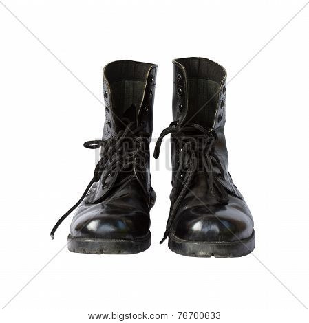 combat boot on white background