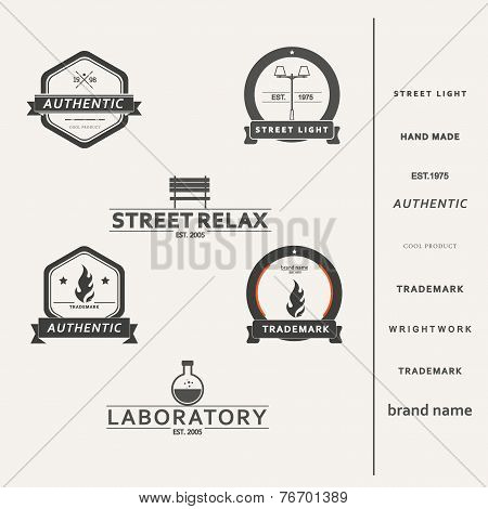 Set of six simple vector elements for logo design