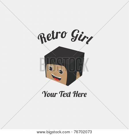 isometric block girl cartoon