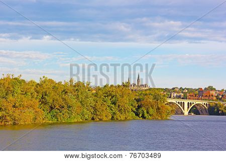 Fall colors of Potomac riverside and Key Bridge Washington DC.