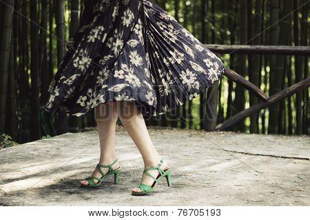 girl in flowery dress