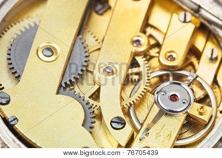 Round Brass Clockwork Of Vintage Pocket Watch