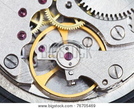 Steel Mechanical Clockwork Of Retro Watch