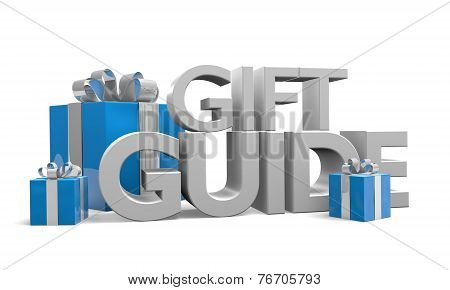 Gift guide text and three blue Christmas gifts wrapped in silver ribbons