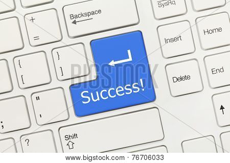 White Conceptual Keyboard - Success (blue Key)