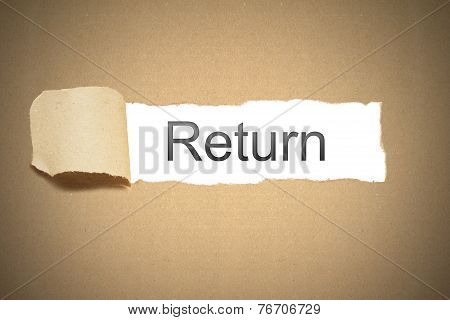 Brown Package Paper Torn To Reveal White Space Return