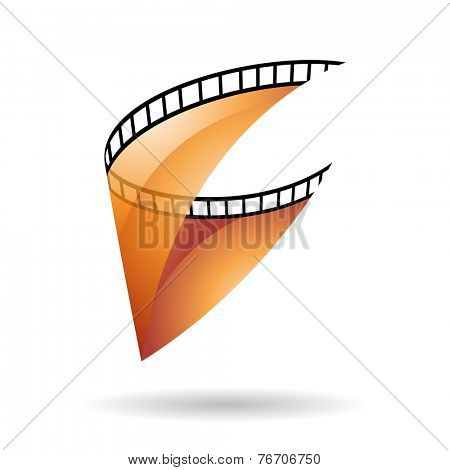 Orange Transparent Film Reel Isolated on a white background