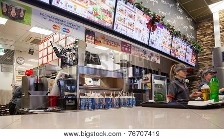 Samara, Russia - November 16, 2014: Fast Food Restaurant Burger King At A Shopping Center Ambar. Bur