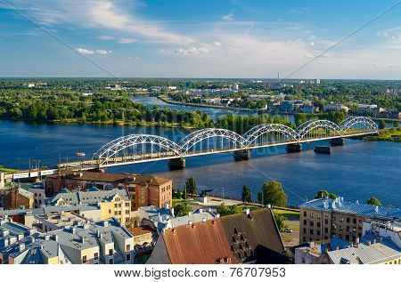 Panorama of Riga city with railway bridge